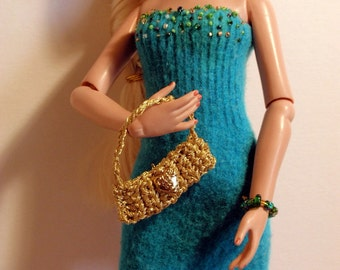 "Turqouise Beaded Knit Dress for 15"" Doll"