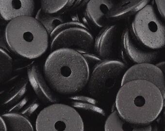Ceramic-13mm Round Disc Beads-Black-Quantity 25