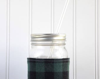 Green & Black Buffalo Check Flannel Mason Jar Sleeve - for PINT size Mason Jar (16 oz)