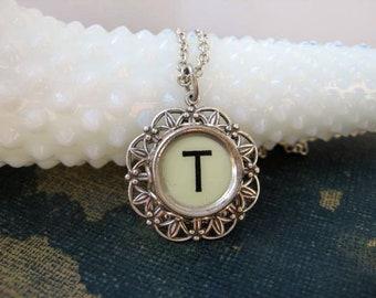 Typewriter Key Jewelry - T charm Necklace