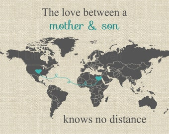 Mother & Son World Map, military family art, military son gift, moving overseas, deployment map art, gift for mom, navy army marines