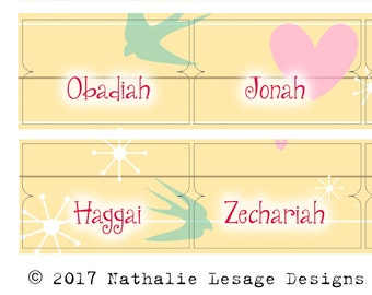 Bible Journaling Tabs Bible Tabs Planner Tabs Bible Book Labels Spring Birds Instant Download Old New Testament Nathalie Lesage 2017BT2