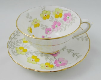 Vintage Tuscan Tea Cup and Saucer, Hand Painted Pink and Yellow Flowers, Fine English Bone China, Tuscan Plant