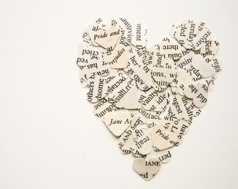 50 Jane Austen Punched Hearts - Confetti or Papercraft
