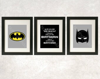 Batman Art // Superhero Wall Art // Always Be Batman Prints // Superhero Decor / Superhero Art / Batman Print / Set of 3 / Superhero Bedroom