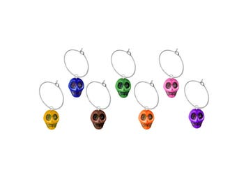 Day of the Dead Skulls Wine Glass Charms, Qty.7