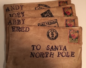 Primitive Santa North pole envelope.