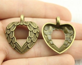 4  Feather Heart Charms, Antique Bronze Tone (1G-153)