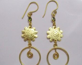 Gold Vermeil Earrings - Dangle Earrings - Peridot Earrings - Spiral Earrings - Lightweight Earrings - Fashion Earrings - Women Earrings