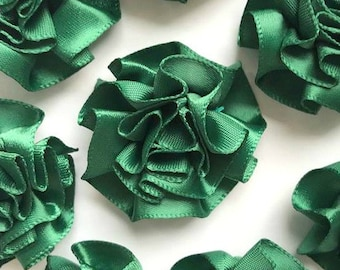 4 Large Green Ribbon Ruffle Roses Rosettes Flowers 3.5cm  - Card Making Embellishments Craft Sewing