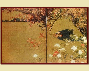 Maple by Hasegawa Tohaku. Ancient art, Japanese painting, Reproduction, Detail of the screen. Printed copy. Asian art. Antique painting.