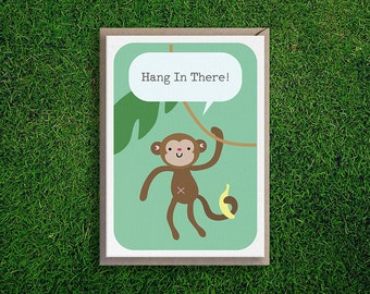 Greeting Cards | Encouragement Card, Motivation, Hang in There, Monkey, Banana, Cute, Quirky, Pun, Silly, Humorous, Green, Kids, Children