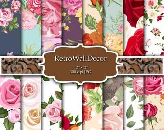 Floral Digital Paper Pack , Vintage Floral Backgrounds , Vintage Roses Decoupage Digital , Flower Roses Paper Pack 12x12 Buy 2 Get 1 FREE