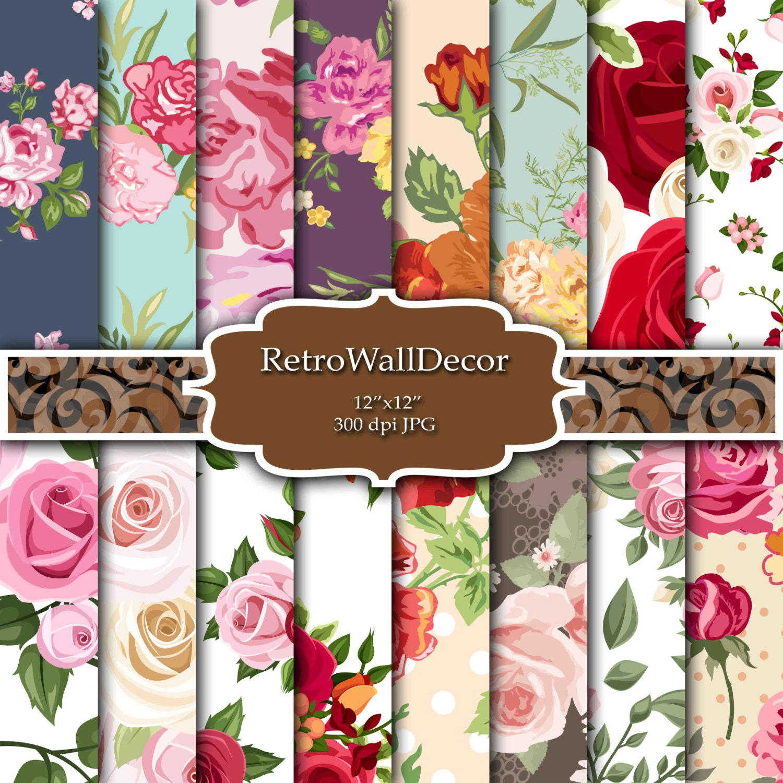 Floral Digital Paper Pack Vintage Floral Backgrounds