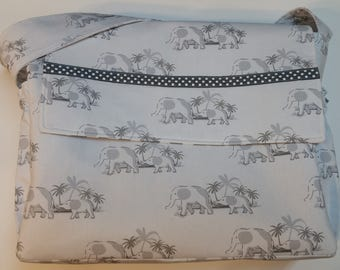 Elephant Diaper Bag with Two Baby Bibs