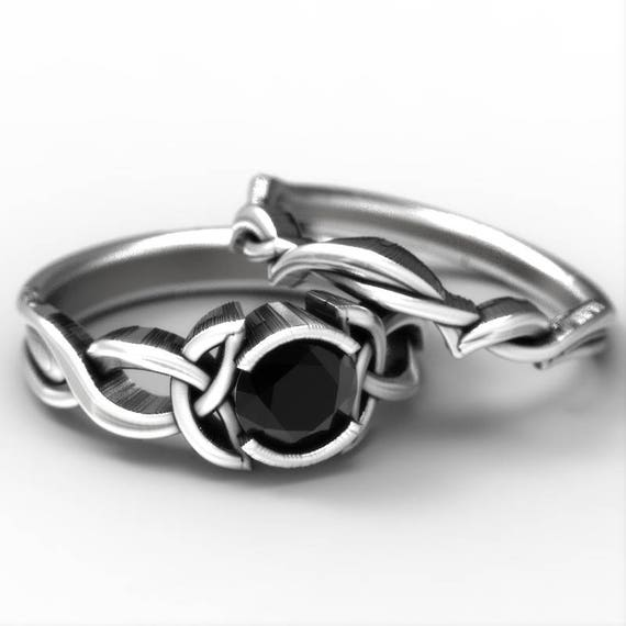 Black Spinel Engagement Ring Set, Sterling Silver Celtic Knot Ring,  Celtic Eternity Ring, Unique Engagement Ring, Made in Your Size 405b