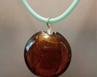 Brown foiled glass disc pendant necklace