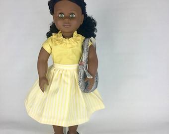 Sunny Stripe Skirt - 18 Inch Doll Clothes, AG Doll Dress, Handmade Summer Skirt for American Girl or Journey Girl Doll