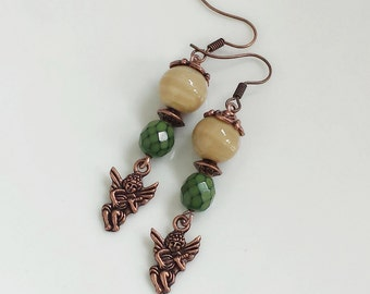 Bohemian earrings with glass beads, Copper angel earrings