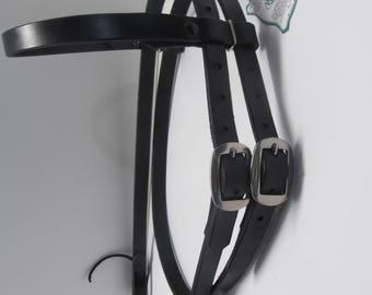 Black Hermann Oak Harness Leather Headstall Bridle