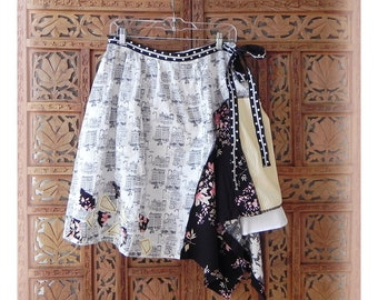 Refahioned Skirt Upcycled White and Black Skirt Pink Mori Girl Skirt Patchwork Artsy Skirt Size Med 'Polly' by The Gypsy Fae