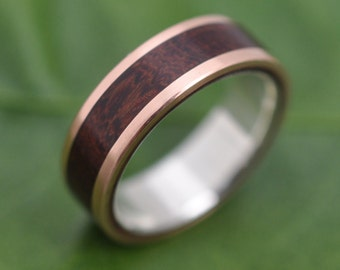 Size 7, 6mm READY TO SHIP Rose Gold Lados Nacascolo Wood Ring with Sterling Silver Inner Band