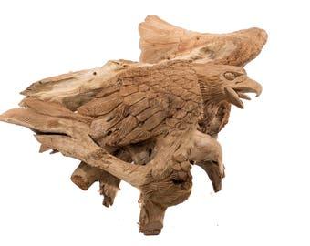WINDALF Eagle sculpture AARAZ h: 49 cm bois décoratifs aigles maison & jardin à la main de teck