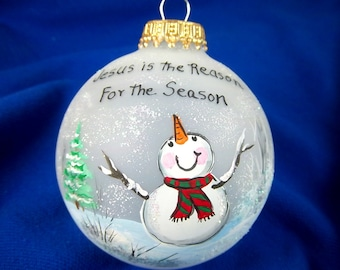 Snowman Ornament, Jesus is the Reason for the Season!  Winter Tree, Handpainted Glass Ornament