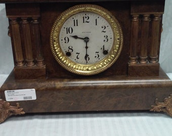 Seth Thomas adamantine antique triple column mantle clock