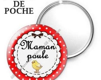 Mirror - badge - 56mm - mother hen