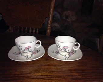 2 Vintage Knowles Rose Tree Cups And Saucers