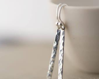 Slim Silver Bar Earrings, Clothing Gift, Beauty Gift, Minimal Earrings, Gifts for Women, Sterling Silver Drop Earrings Jewelry, Burnish