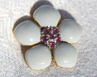 Vtg 80s Enamel Flower Pin with Pink Rhinestones