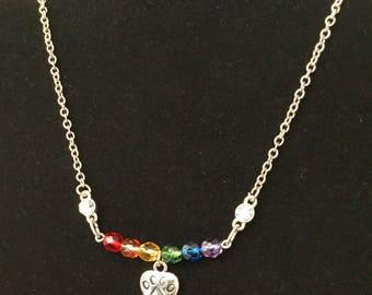 Pet Sympathy Necklace, OOAK, Rainbow Bridge, Czech beads, In Loving Memory, Memorial Jewelry, Made in CA