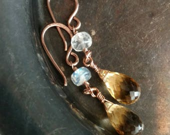 Golden citrine briolettes and blue flash moonstone 14k rose gold filled long dangle earrings - Wire wrapped handmade jewelry