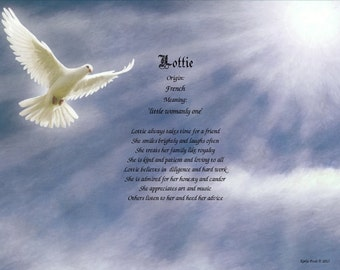 Personalized Name Poem or Name Keepsake on Dove Print II - Free Shipping