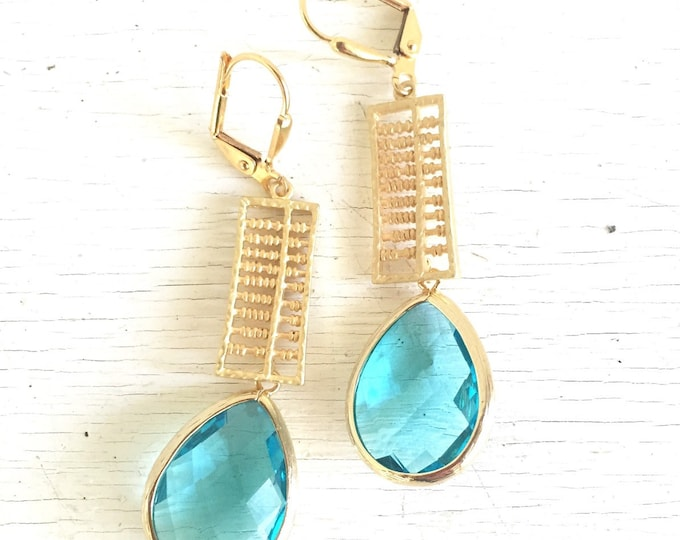 Aquamarine Jewel Dangle Earrings in Gold. Blue Drop Earrings. Drop. Fashion Earrings. Gift. Gift Ideas for Her.