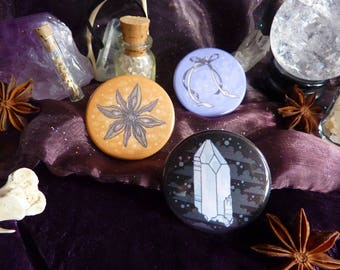 Witchy Ingredients: Set of Three Pinback Buttons