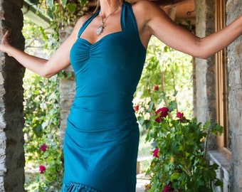 Teal Sundress for women, Spanish style, Blue high Low dress, Turquoise Festival clothes for her, Gypsy dresses, Asymmetrical wear, Boho Chic