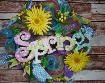 Free Shipping, Housewarming, Birthday Gift, Spring Wreath, Gerbera Daisies Spring Wreath, Mother's Day Wreath, Home Decor