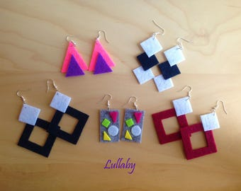 Women's geometric felt earrings-felt geometric earrings