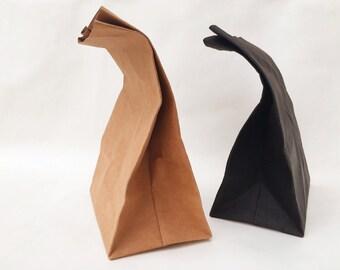 Kraft Paper Minimal Lunch Bag/Snack Bag/Washable Paper Bag/Eco Bag