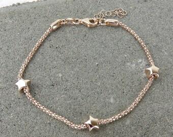 Silver Tiny Star Bracelet - Rose Gold & SIlver