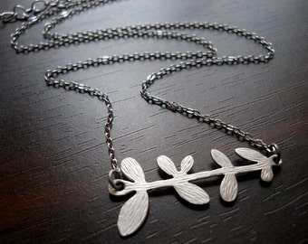 40% OFF SALE! - Silver Leafy Branch Necklace