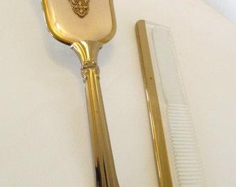 Vintage gold tone brush comb set
