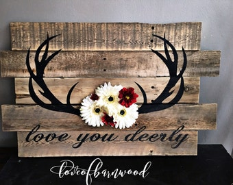 Love you deerly Sign |  Nursery Decor | Barn Wood Sign