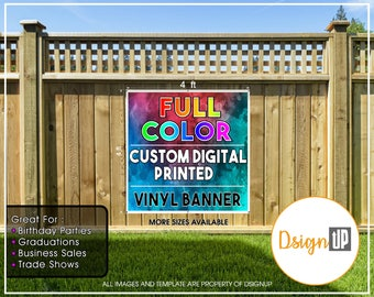 Custom Printed  Vinyl Banner 4x4 Single Sided with Grommets  - Personalized Banner