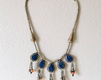 Tribal Statement Necklace with Blue Stones