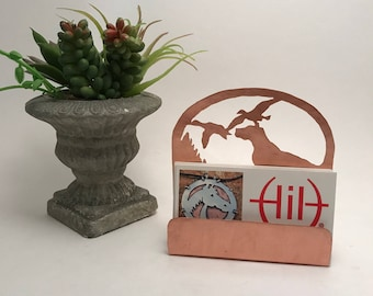 Duck Hunting Business Card Holder, Copper Desk Accessory Duck Hunters gift, gift for Bird Dog items hunting gifts for bird hunters