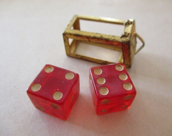 vintage red lucite dice charm - pair of dice, 60s, good luck, gambling